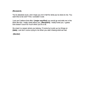 Angry Breakup Letter Goodbye Letter