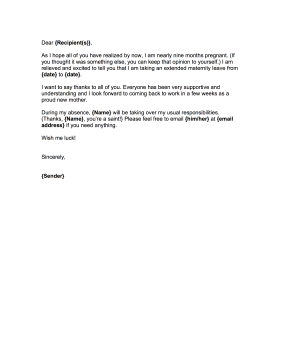Maternity leave goodbye letter for Going back to work after maternity leave letter template